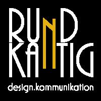 RundKantig - Logotypen i vit